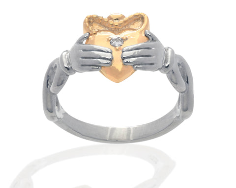 Sterling Silver and 14K Yellow Gold Claddagh Ring