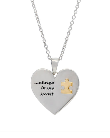 Autism Sterling Silver and 10K Gold Puzzle Piece Pendant
