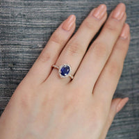 oval sapphire engagement ring in rose gold vintage inspired band by la more design