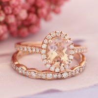 rose gold oval morganite engagement ring bridal set and scalloped diamond band by la more design