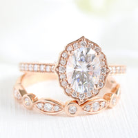 oval moissanite ring bridal set in rose gold vintage inspired diamond band by la more design