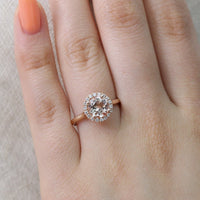 rose gold morganite ring halo diamond round engagement ring by la more design
