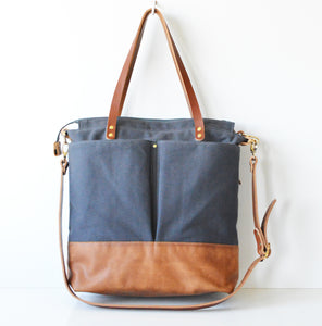 Dark Grey and Toffee Leather convertible diaper tote bag. Handmade in Australia.