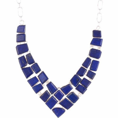 Arvino 925 Sterling Silver Necklace With Lapis Gemstone-Arvino Online