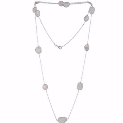 Arvino 925 Sterling Silver Necklace With Rainbow Moon Stone-Arvino Online