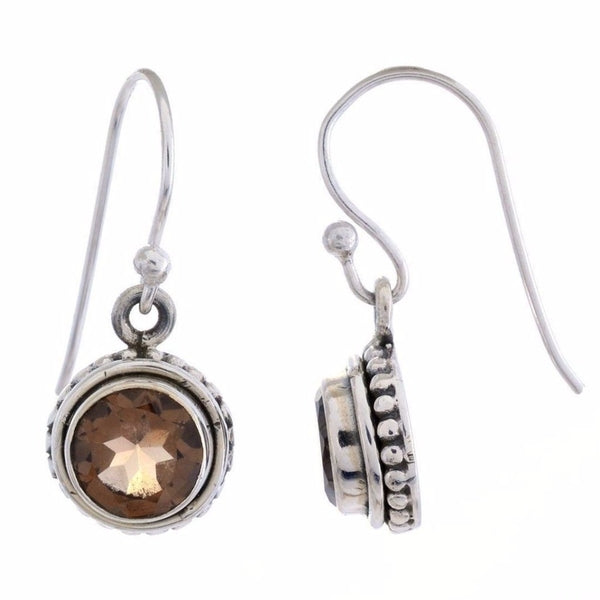 Sterling Silver Dangle Earring with Smoky Quartz Gemstone-Arvino Jewelry