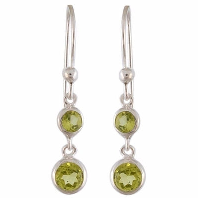 Two Layered Sterling Silver Dangle Earring With multi Stone Options-Arvino Online