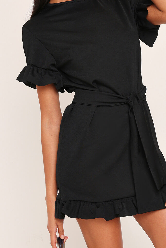 Black Tie Waist Frill Detail Dress view 4