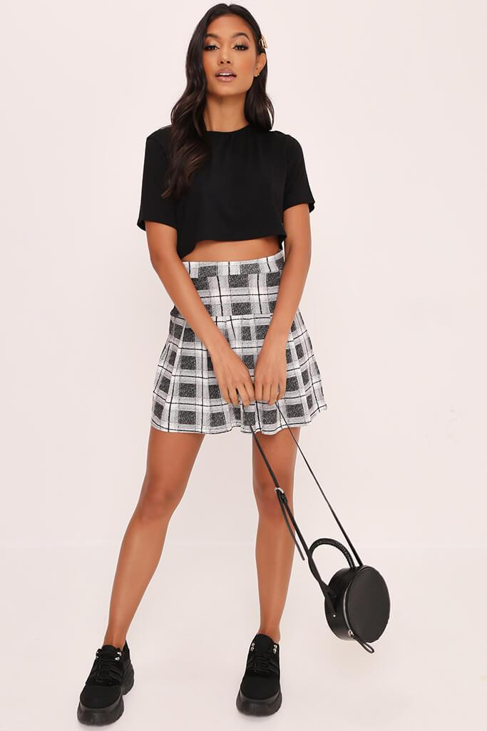 Grey Checked Skater Mini Skirt