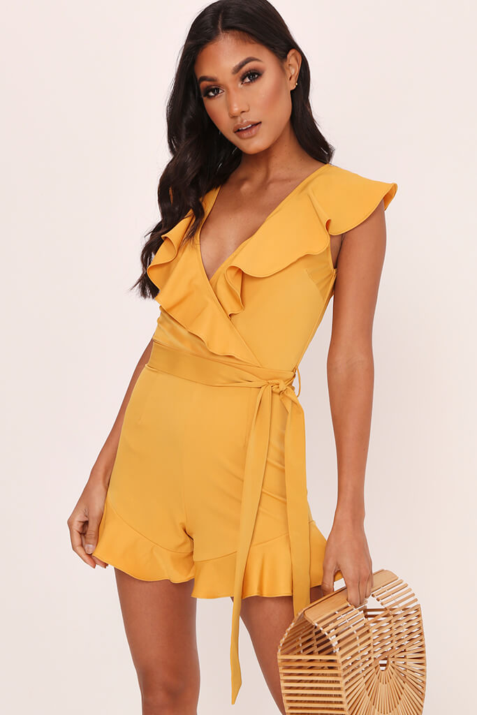 Honeydew Frill Plunge Playsuit view main view