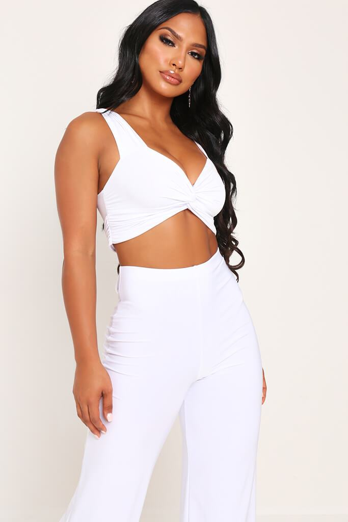 White Slinky Crop Top