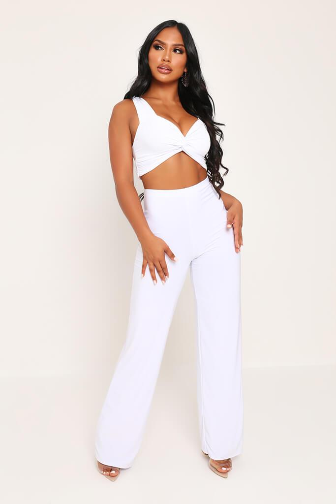 White Slinky Crop Top view 2