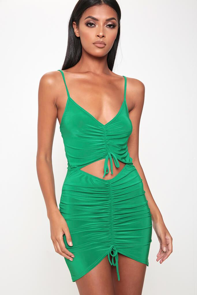 Green Ruched Front Cut Out Mini Dress