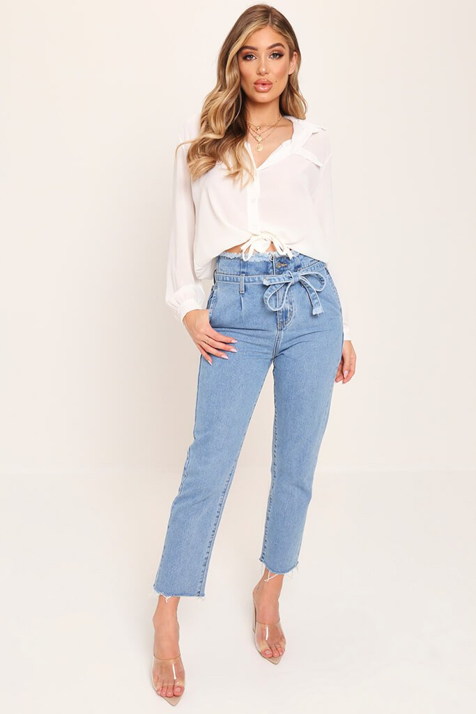 Mid Wash High Waist Paper Bag Boyfriend Jeans view 2