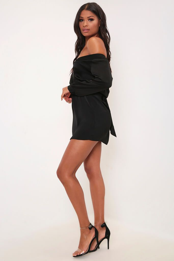 Black Off The Shoulder Tortiseshell Shirt Dress view 3