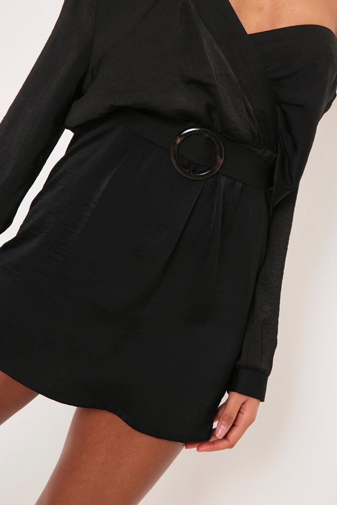 Black Off The Shoulder Tortiseshell Shirt Dress view 4