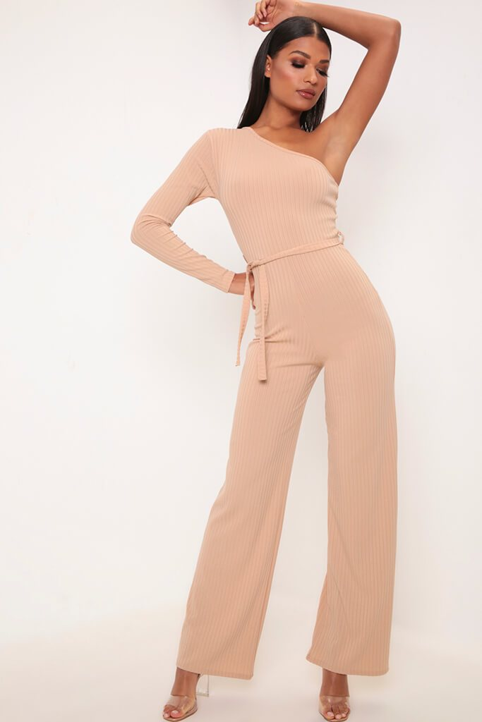 Camel One Shoulder Ribbed Jumpsuit view main view