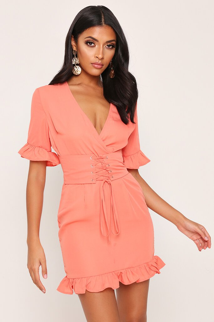 Coral Lace Up Detail Tea Dress