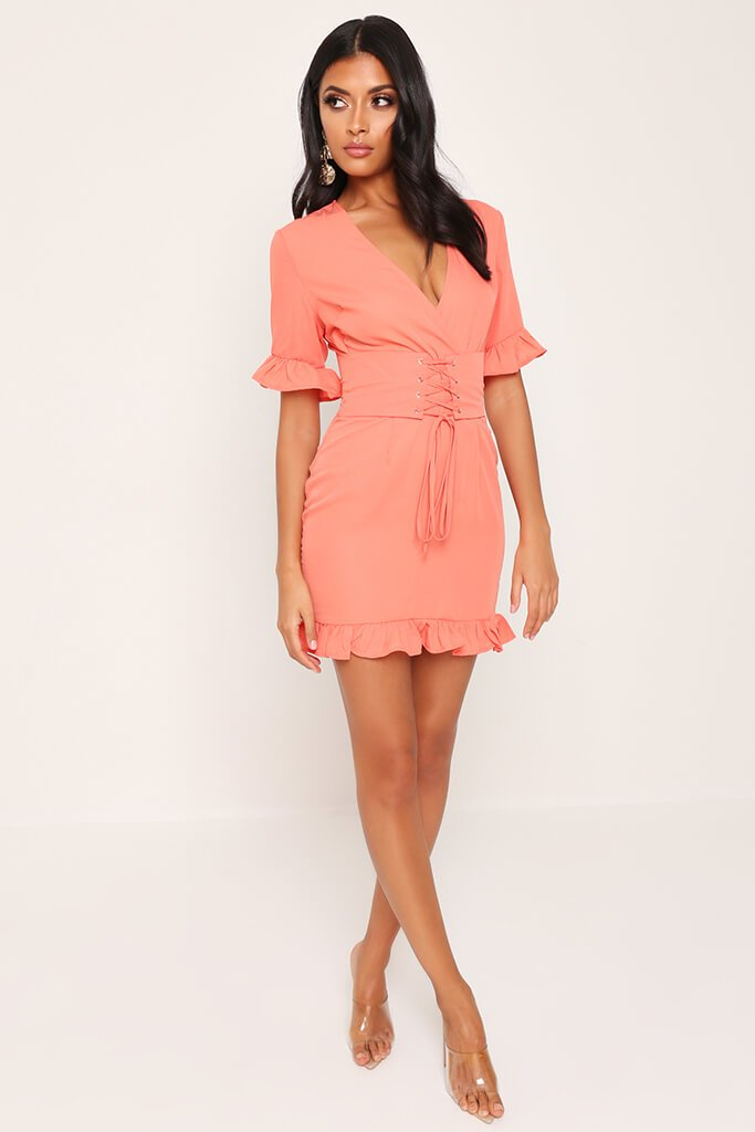 Coral Lace Up Detail Tea Dress view 2