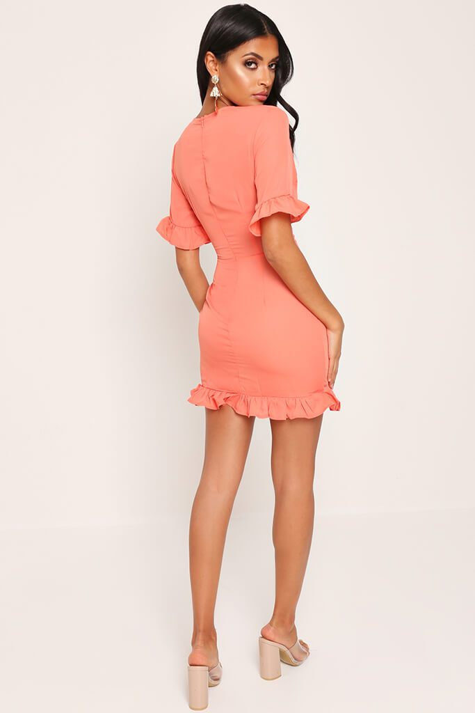 Coral Lace Up Detail Tea Dress view 5