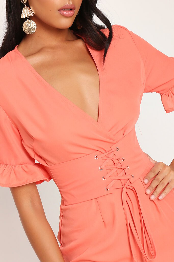 Coral Lace Up Detail Tea Dress view 4