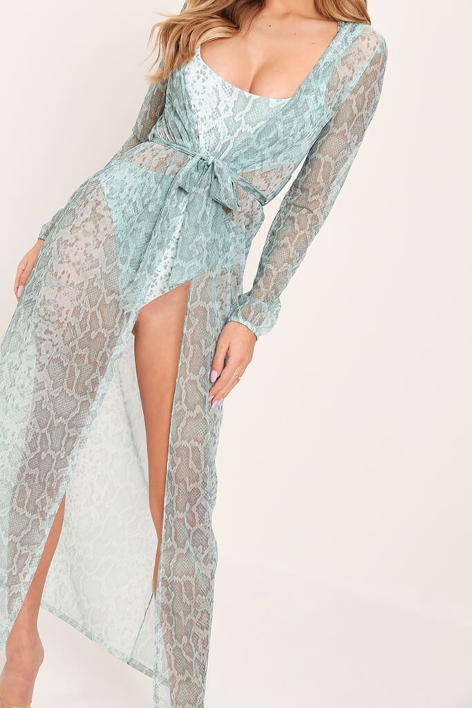 Mint Snake Print Belted Balloon Sleeve Kimono view 4