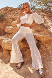 White Crochet High Waisted Flared Trousers