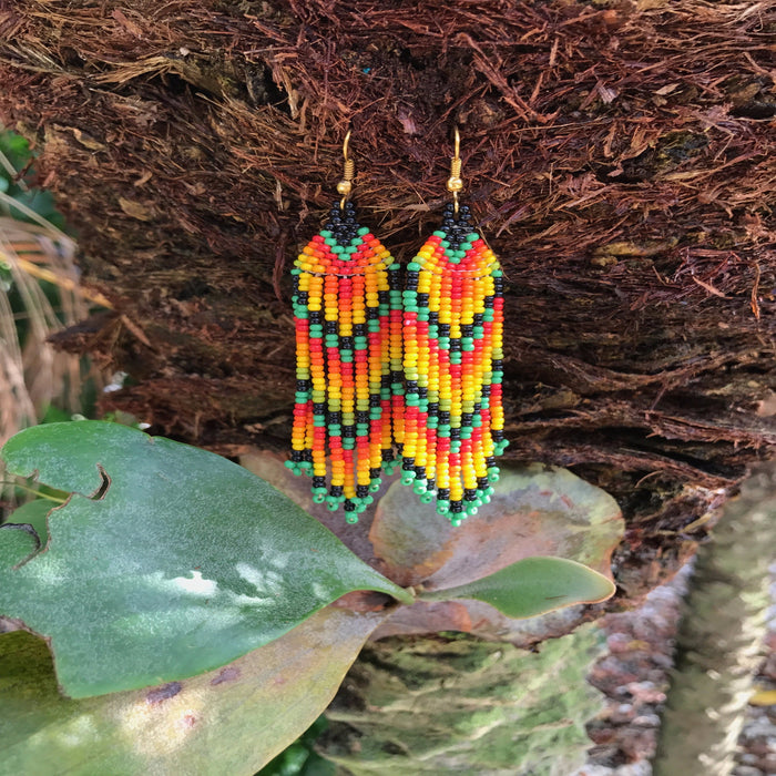 Native Beaded Earrings with Earthy Feather Style Parrot Colors