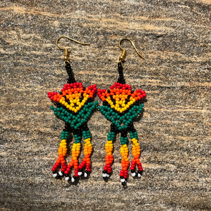 Native Beaded Earrings with Earthy  Flower Style