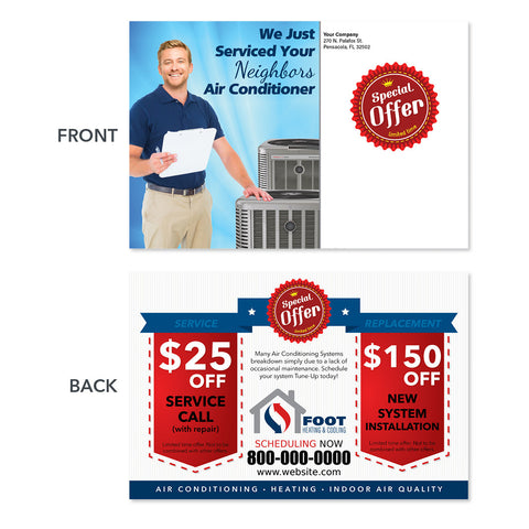 air conditioning postcard with technician
