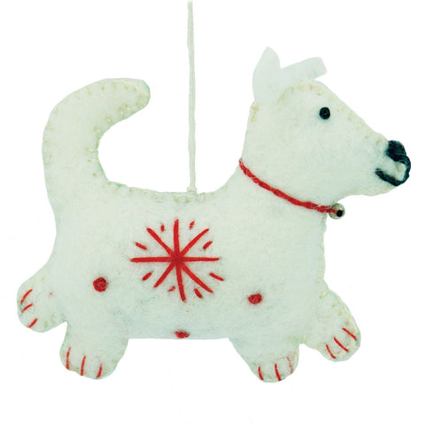 White Felt Dog Holiday Ornament - Wild Woolies (H) - Native Grace Fair Trade