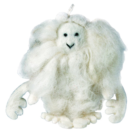 White Felt Yeti Ornament - Wild Woolies (H) - Native Grace Fair Trade