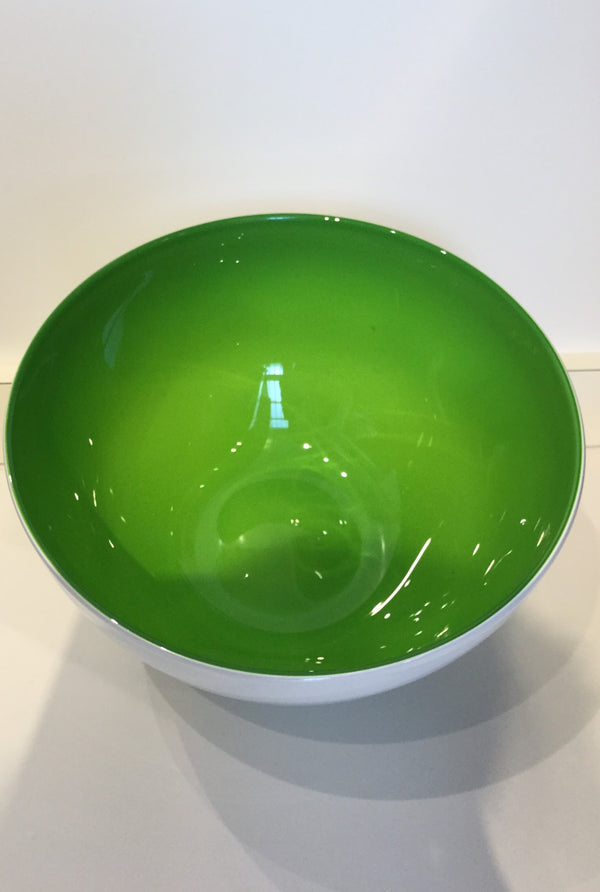 Apple Green and White Glass Bowl