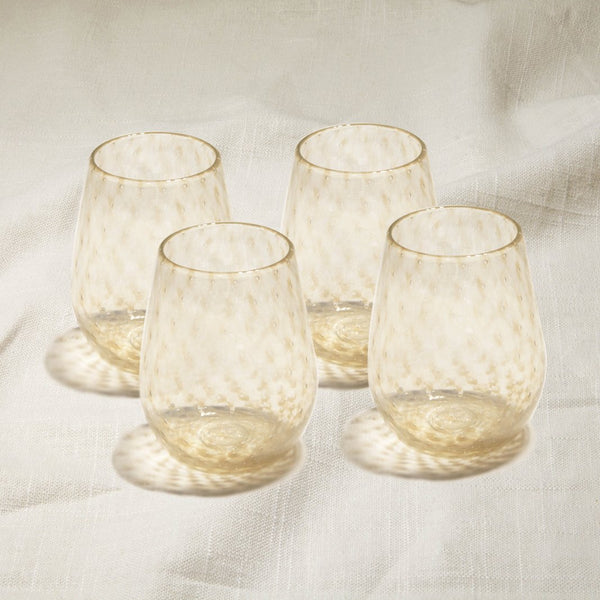Chocolate Opal Bubbled Stemless Wine Glasses Set of 4