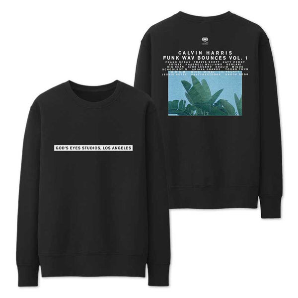 CALVIN HARRIS 'GOD'S EYES STUDIOS' BLACK CREWNECK