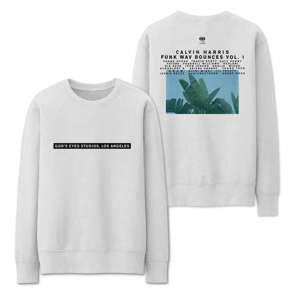CALVIN HARRIS 'GOD'S EYES STUDIO' WHITE CREWNECK