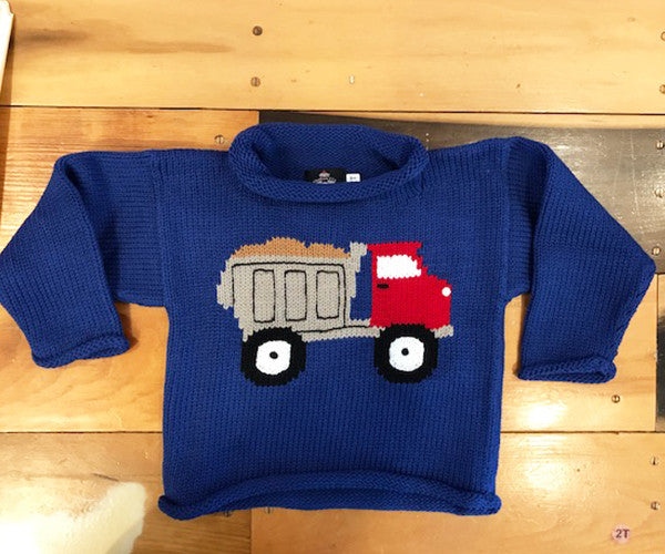 Blue Roll Neck Sweater with Dump Truck