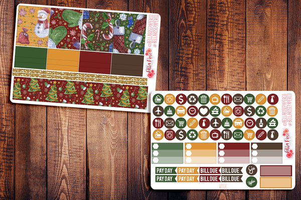Merry Little Christmas Planner Sticker Kit W006