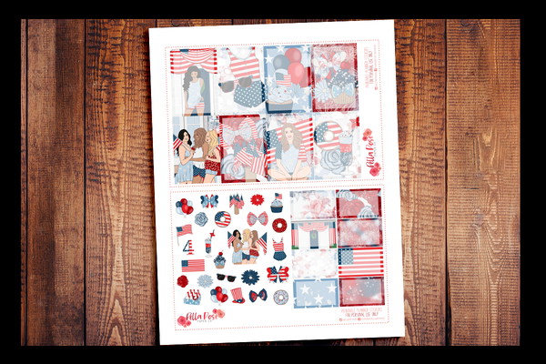 4th Of July Happy Planner Kit | PRINTABLE PLANNER STICKERS