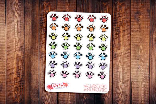 Paw Doodle Icon Hand Drawn Planner Stickers