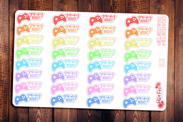 Gaming Night Lettered Planner Stickers DI038