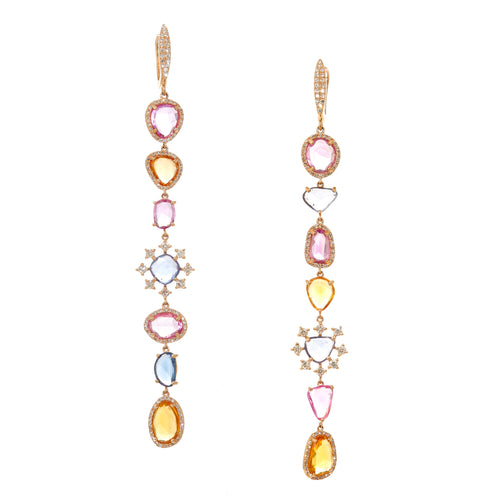 Beyonce Multicolor Sapphire & Dia Drop Earrings