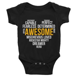Infant Bodysuit---Awesome Heart Word Art---Click for more shirt colors