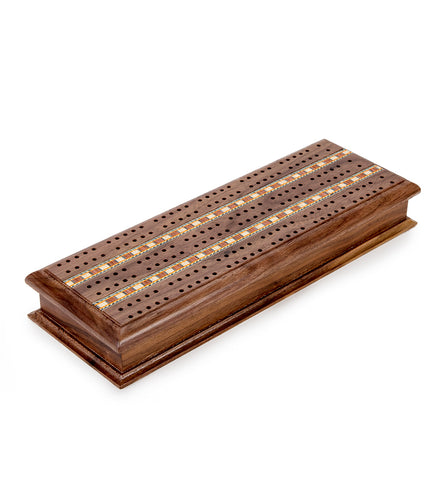 Walnut Cabinet Cribbage Set with Inlay Sprint 3 Track Board