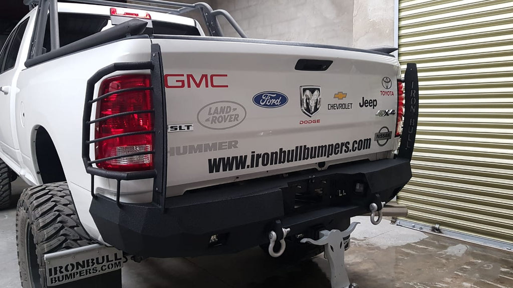 Iron Bull Bumpers - The best Front and Rear Iron Heavy Duty Bumpers with light buckets and winch mount included