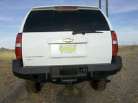 2007-2014 Chevrolet Suburban Rear Base Bumper Without Sensor Holes - Iron Bull Bumpers - REAR IRON BUMPER - Metal bumper for heavy duty trucks Perfect for CITY/OFF-ROAD applications with Light Buckets and Winch Mount included