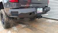 2014-2018 Chevrolet 1500 Rear Base Bumper With Sensor Holes - Iron Bull Bumpers - REAR IRON BUMPER - Metal bumper for heavy duty trucks Perfect for CITY/OFF-ROAD applications with Light Buckets and Winch Mount included