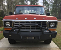 1973-1979 Ford F-150 Front Base Bumper - Iron Bull Bumpers - FRONT IRON BUMPER - Metal bumper for heavy duty trucks Perfect for CITY/OFF-ROAD applications with Light Buckets and Winch Mount included