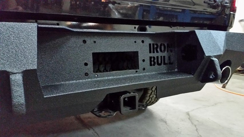 2009-2018 Dodge 1500 Rebel/Sport Rear Base Bumper With Sensor Holes - Iron Bull Bumpers - REAR IRON BUMPER - Metal bumper for heavy duty trucks Perfect for CITY/OFF-ROAD applications with Light Buckets and Winch Mount included