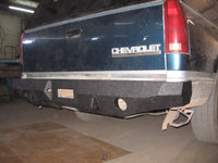 1992-1998 Chevrolet Suburban Rear Base Bumper - Iron Bull Bumpers - REAR IRON BUMPER - Metal bumper for heavy duty trucks Perfect for CITY/OFF-ROAD applications with Light Buckets and Winch Mount included